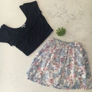Tobi Floral Mini Skirt - High Waisted - Small